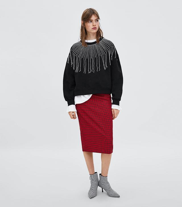 Zara Sweatshirt With Beaded Fringe