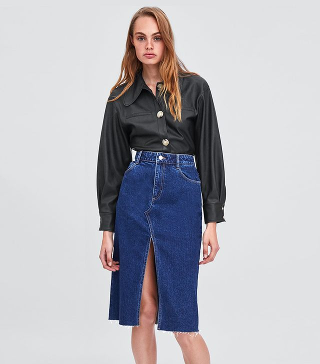 Zara Denim Skirt With Slit