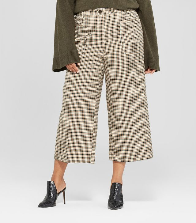 Plaid Wide Leg Cropped Suiting Pants