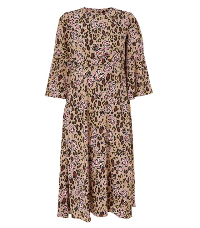 Somerset by Alice Temperley Leopard Floral Midi Dress in Black/Multi (