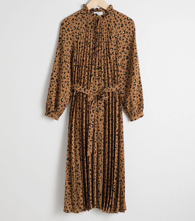 & Other Stories Leopard Pleated Midi Dress