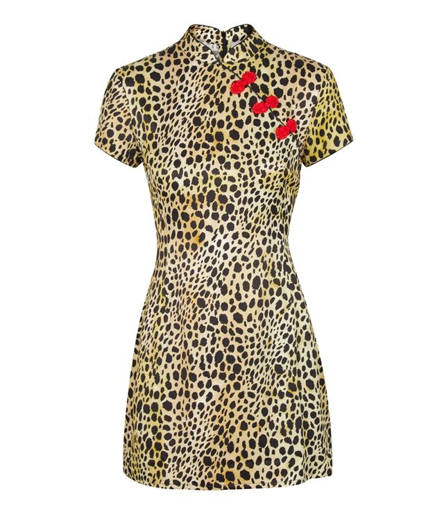 De La Vali Suki Leopard-Print Satin Mini Dress