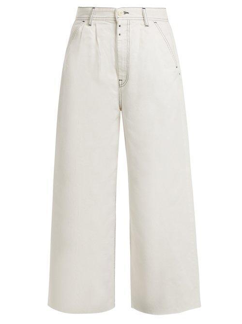 Mm6 Maison Margiela - High Rise Wide Leg Jeans - Womens - Ivory
