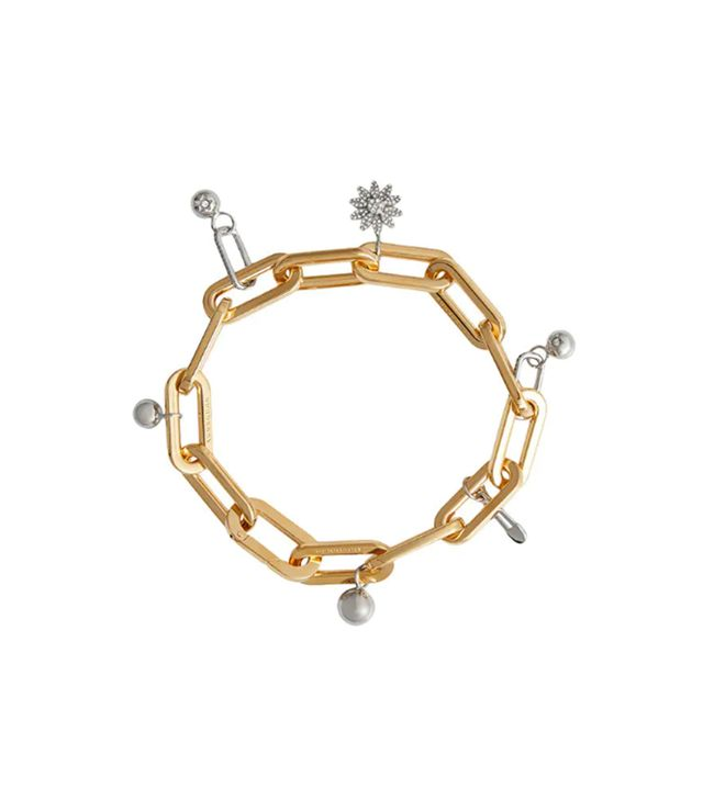 Crystal Charm Gold and Palladium-Plated Bracelet