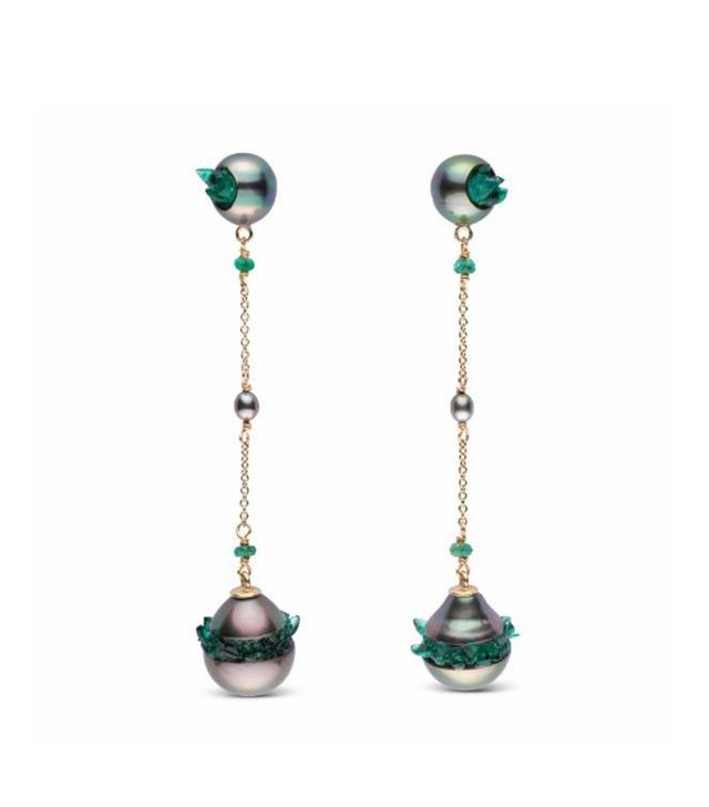 Little H Tahitian Pearl and Emerald Point Collection Dangle Earrings