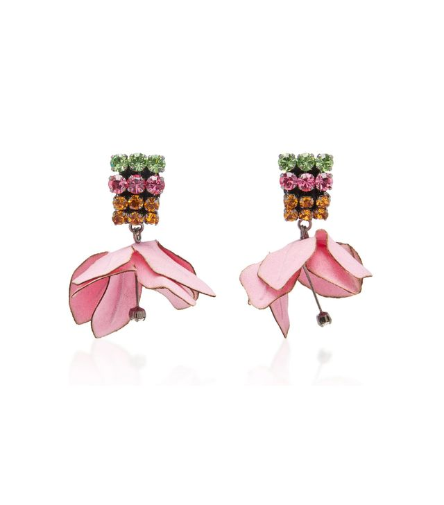 Cotton Flower And Rhinestone Earrings