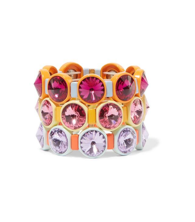Technicolor Set Of Three Enamel And Swarovski Crystal Bracelets