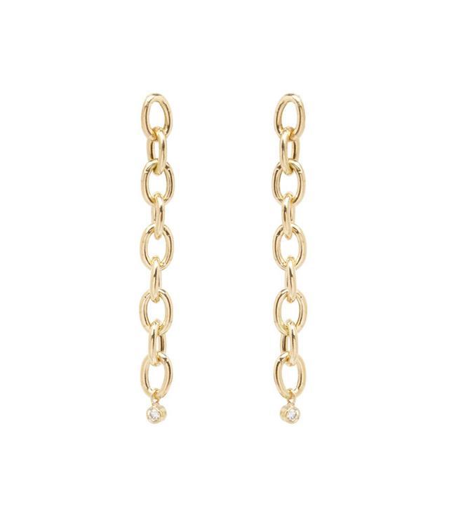 Zoe Chicco 14K Oval Link and Dangling Bezel Diamond Earrings