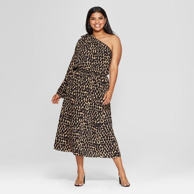 Leopard Print Long Sleeve One Shoulder Midi Dress