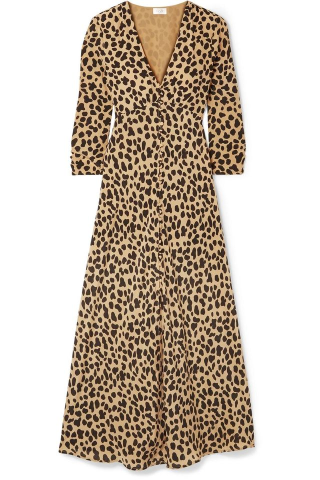 Katie Leopard-Print Silk-Crepe Dress