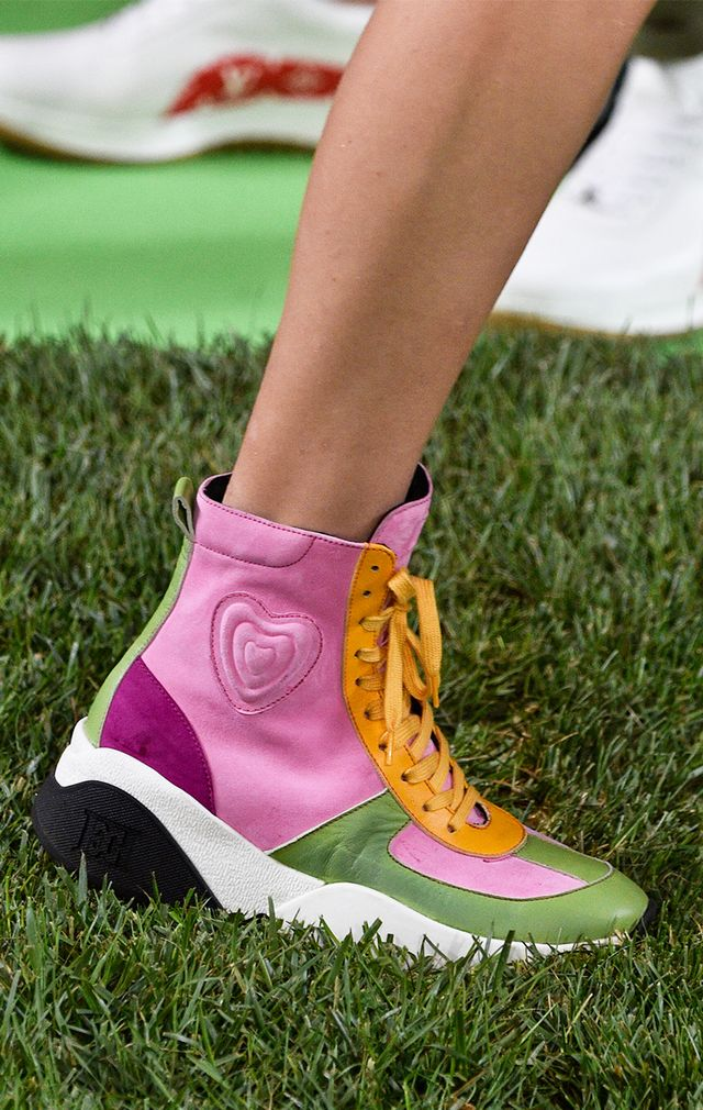 <p>Channel your inner second-grade self and stock up on multicolored, glittery, and heart-adorned sneakers of all kinds. The more youthful the shoes the better.</p>