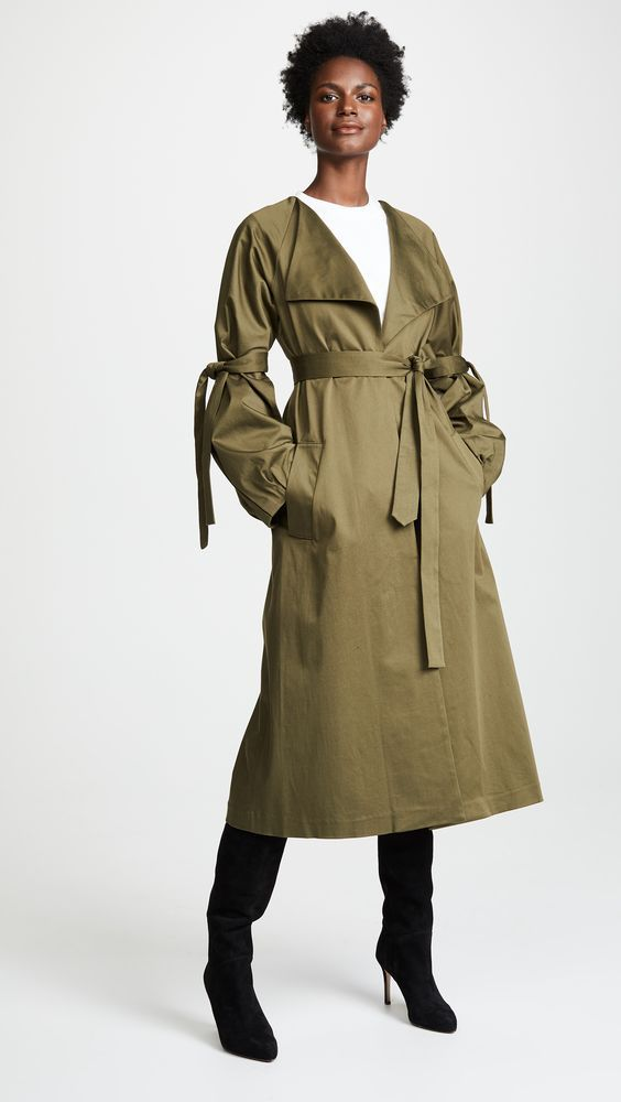 how to build a modest capsule wardrobe with an olive trench coat