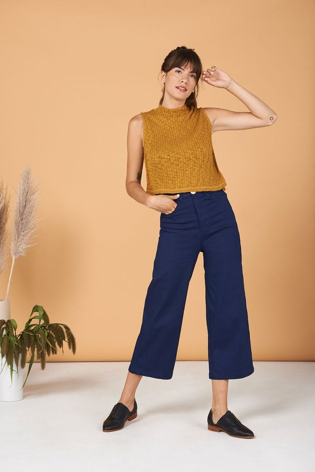 how to build a modest capsule wardrobe with blue pants