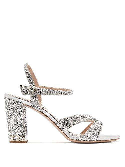Glitter Embellished Open Toe Leather Sandals