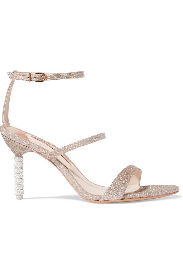 Rosalind Crystal-embellished Glittered Canvas Sandals