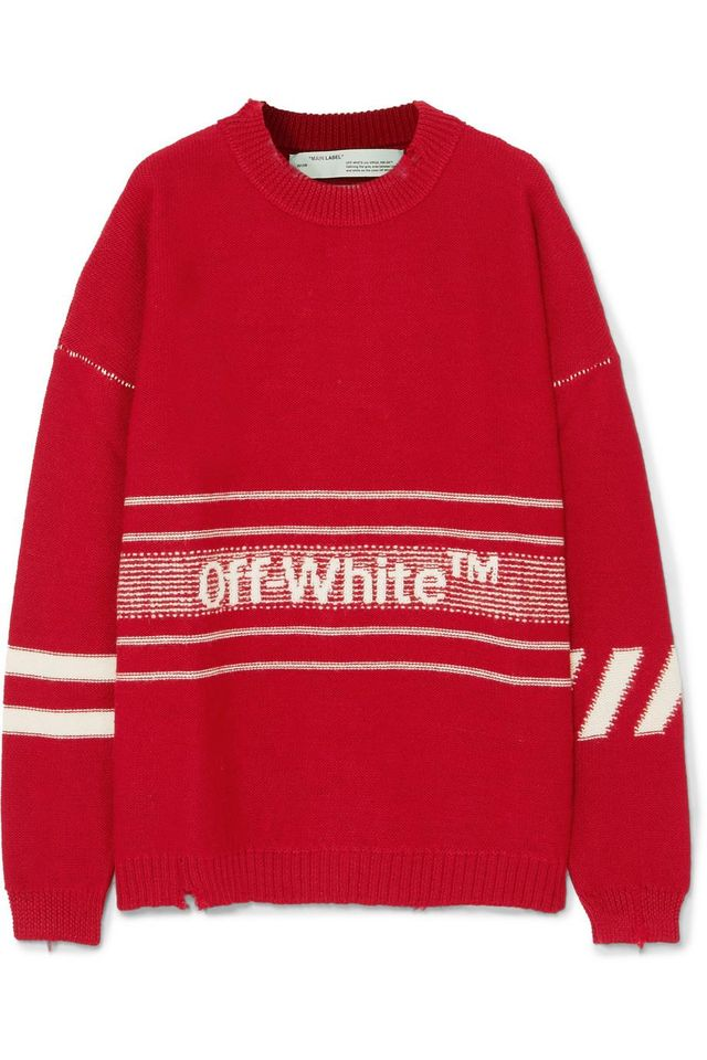 Oversized Distressed Embroidered Intarsia Wool Sweater