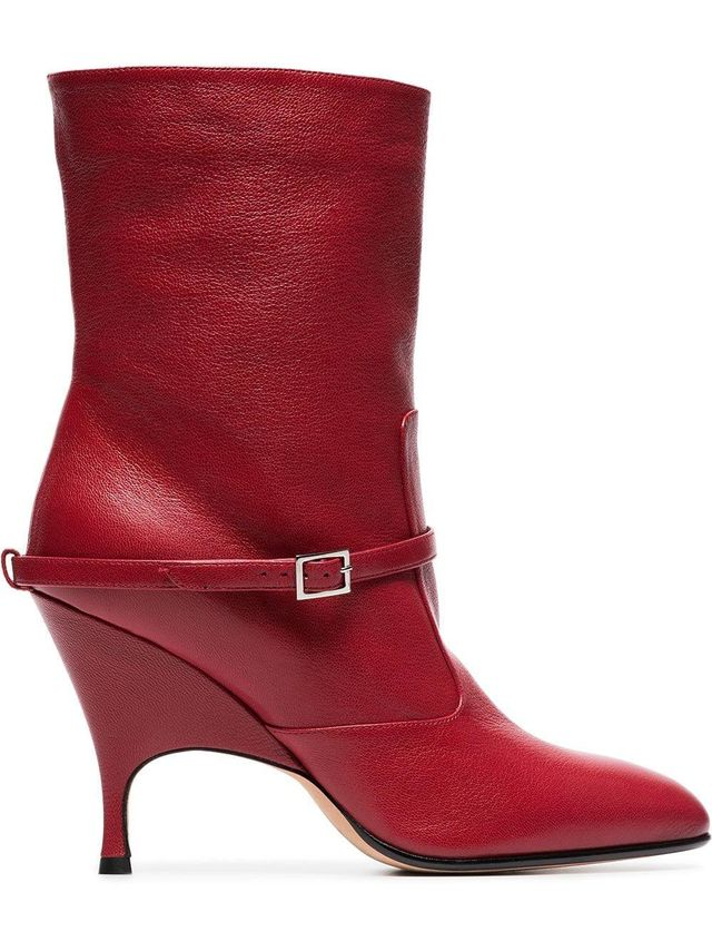red Cuba 95 leather ankle boots