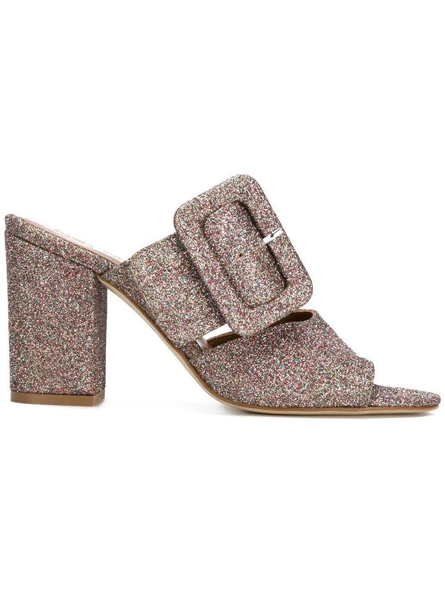 glitter buckled mules