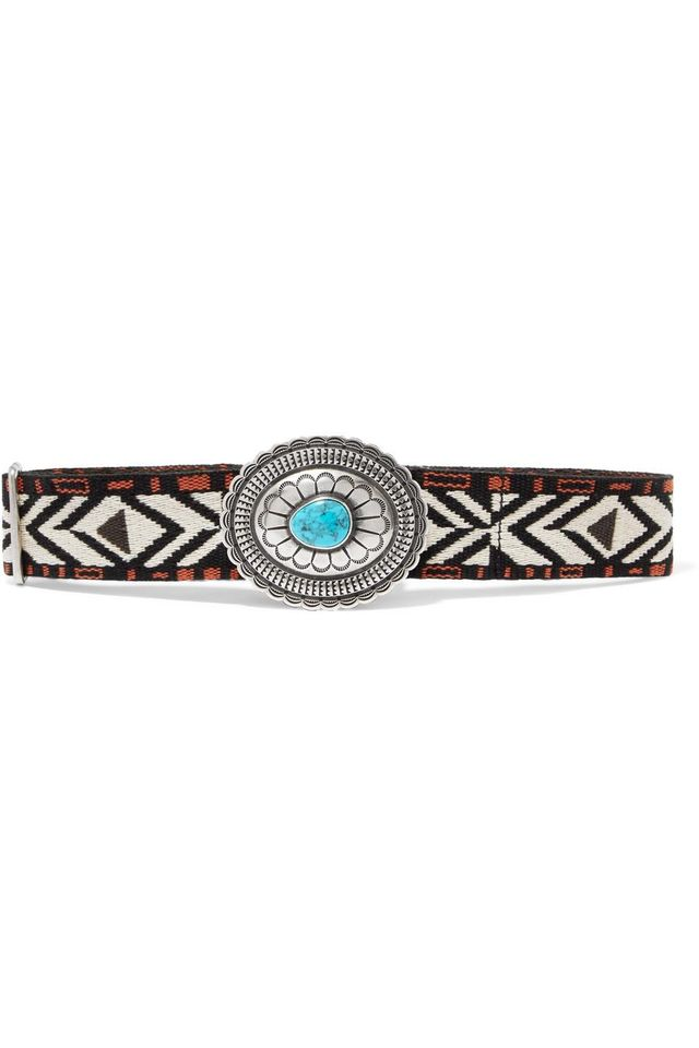 Embellished Canvas-jacquard Waist Belt