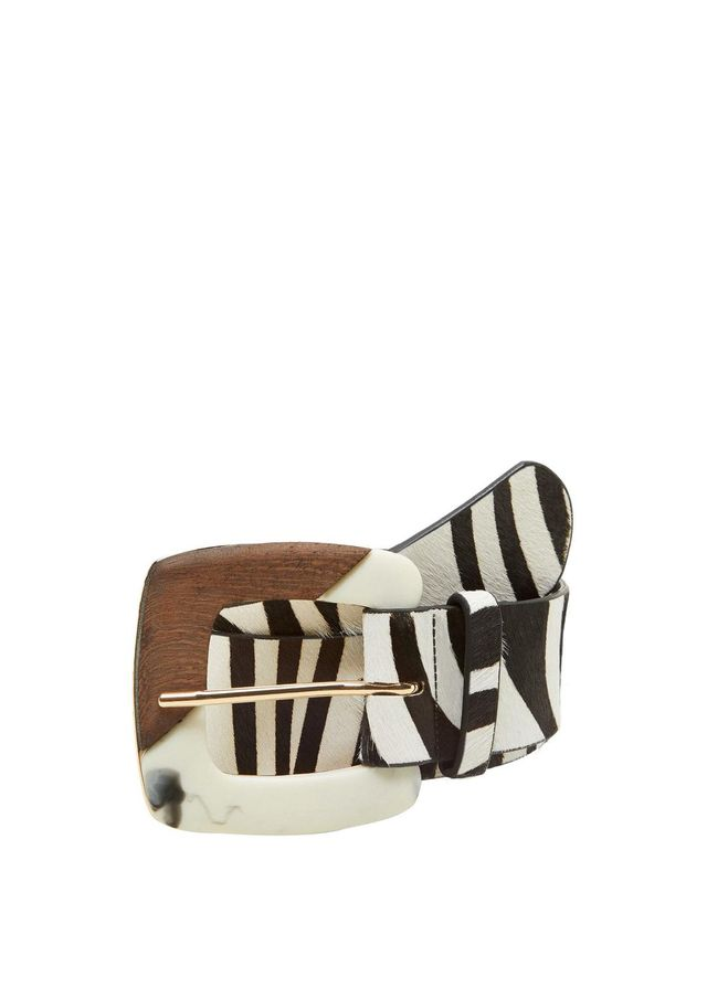 Zebra leather belt