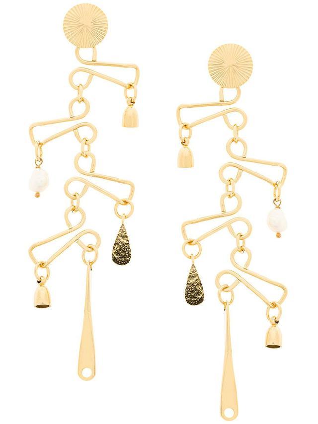 Technofossils chandelier earrings