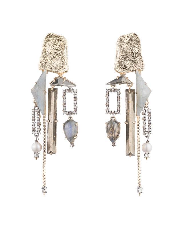 Geometric Clip-On Chandelier Earrings