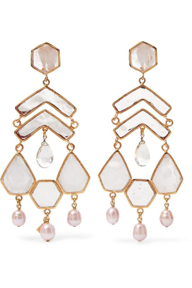 Gold-plated Multi-stone Clip Earrings