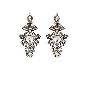 Women's Crystal-Embellished Chandelier Earrings - Silver