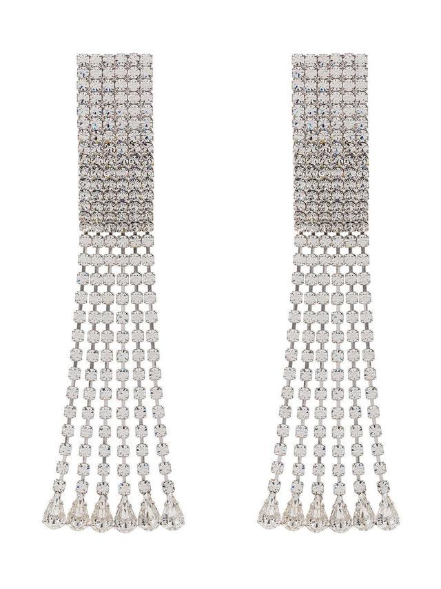 silver rectangular crystal drop earrings