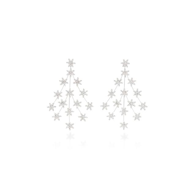 Jennifer Behr Swarovski Crystal Silver-Tone Chandelier Earrings