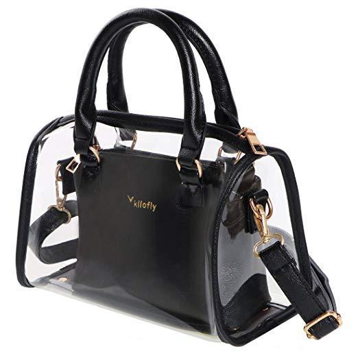Kilofly Women's 2-in-1 Clear Transparent Handbag