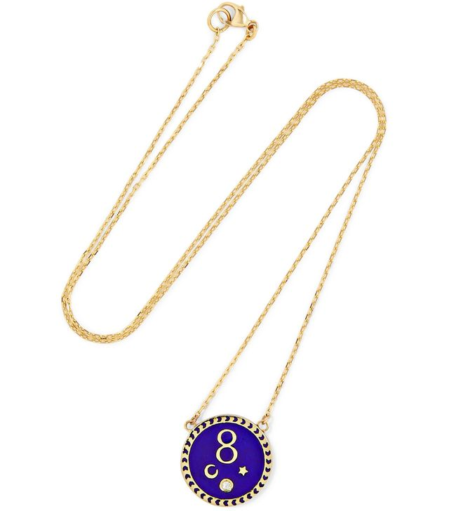 Foundrae Karma 18-Karat Gold, Diamond and Enamel Necklace