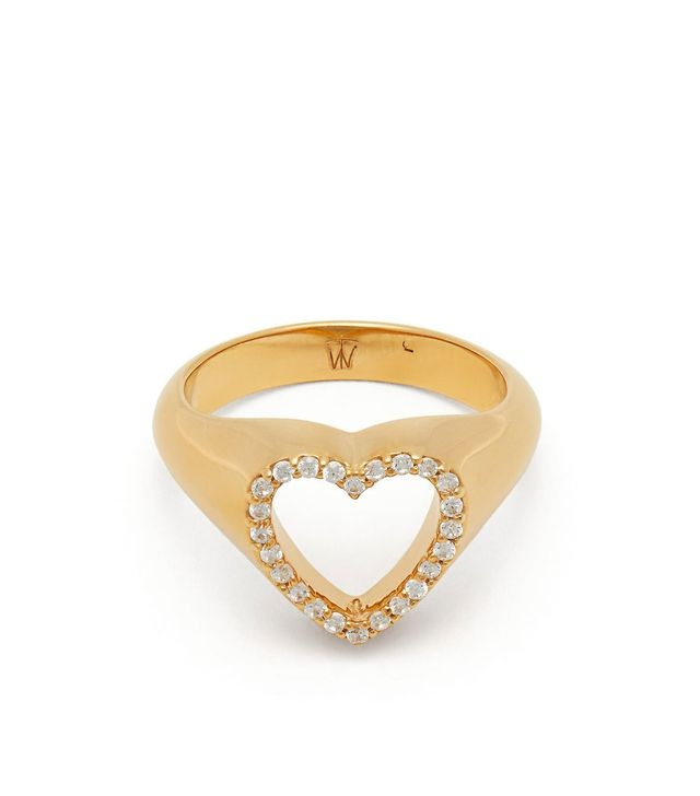 - Heart Gold Plated Sterling Silver Pinky Ring - Womens - Gold