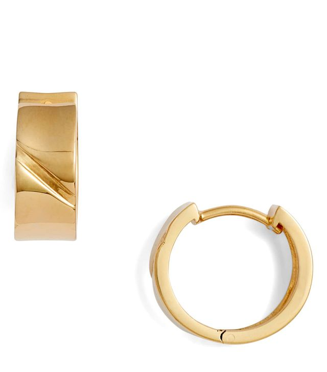 Flat Edge Huggie Hoop Earrings