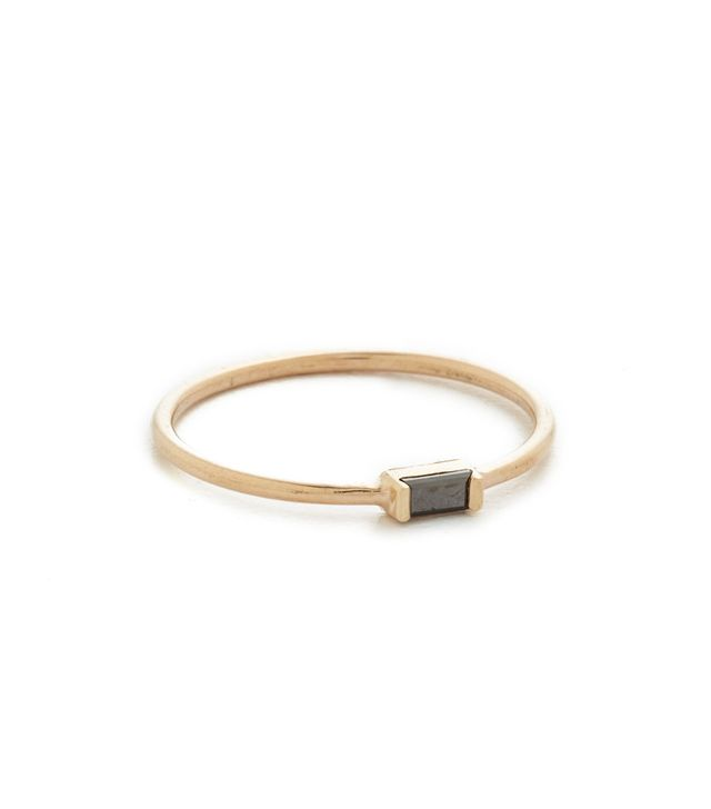 Black Baguette Stacking Ring