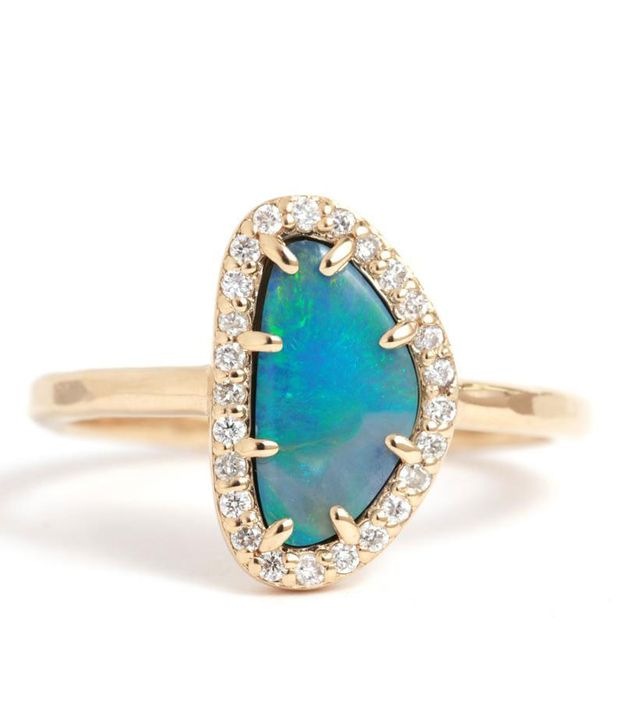Melissa Joy Manning Micropavé Diamond And Opal Ring