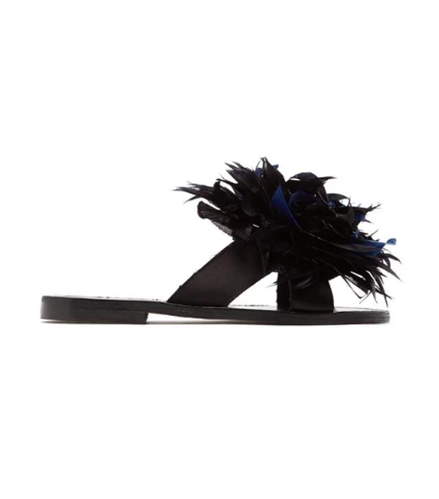 Alvaro Antoniona Feather-Trimmed Leather Sandals