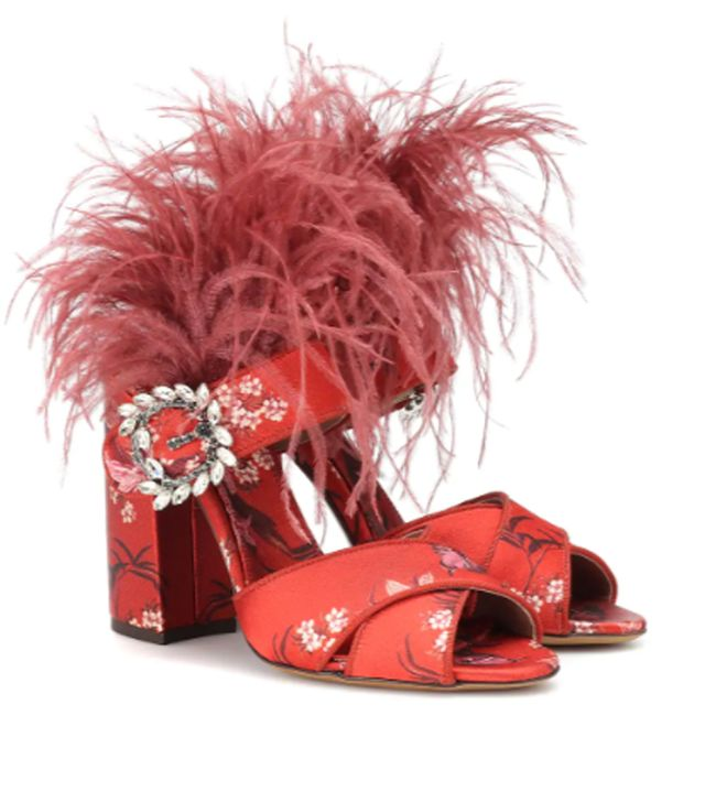Tabitha Simmons x Johanna Ortiz Reyner Feather-Trimmed Sandals