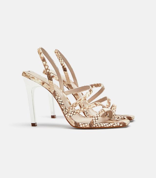 Zara Square Toe Snake Sandal