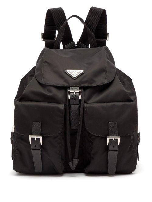 - Classic Leather Trimmed Nylon Backpack - Womens - Black