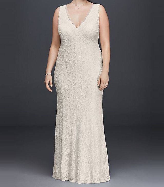 DB Studio Allover Lace V-Neck Sheath Wedding Dress