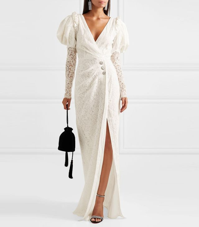 Crystal-embellished Cotton-blend Lace Gown