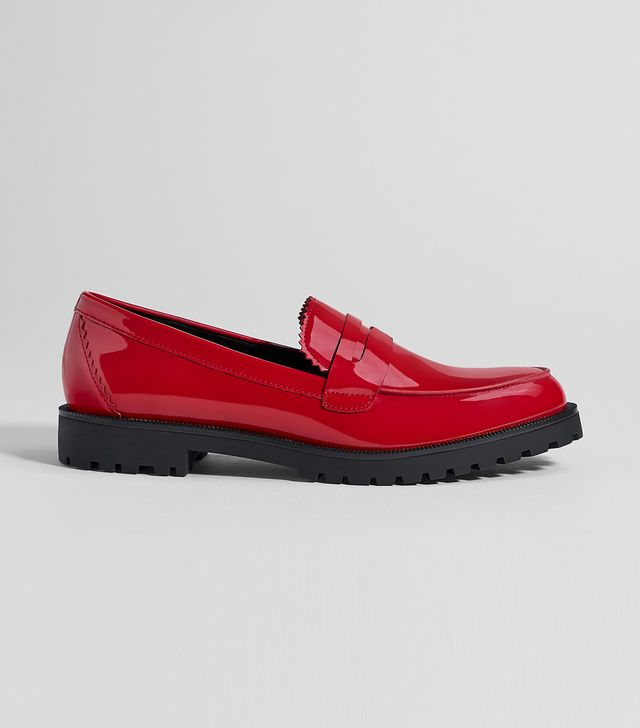 Bershka Red Faux Patent Leather Penny Loafers