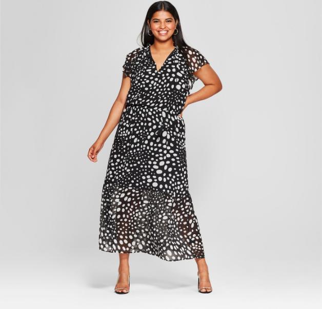 Women's Plus Size Short Flutter Sleeve Midi Dress