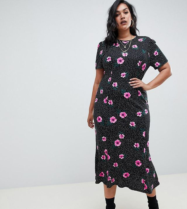 ASOS DESIGN Curve city maxi tea dress in mono spot floral