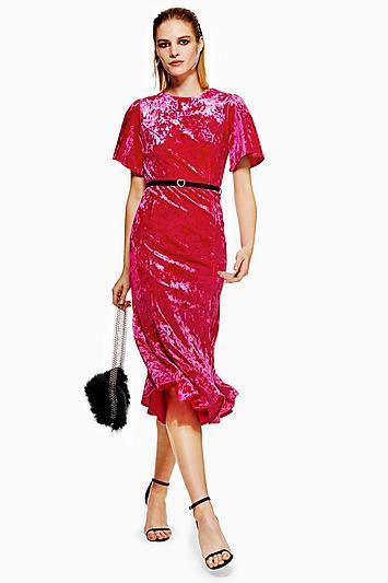 Velvet Belted Midi Dress