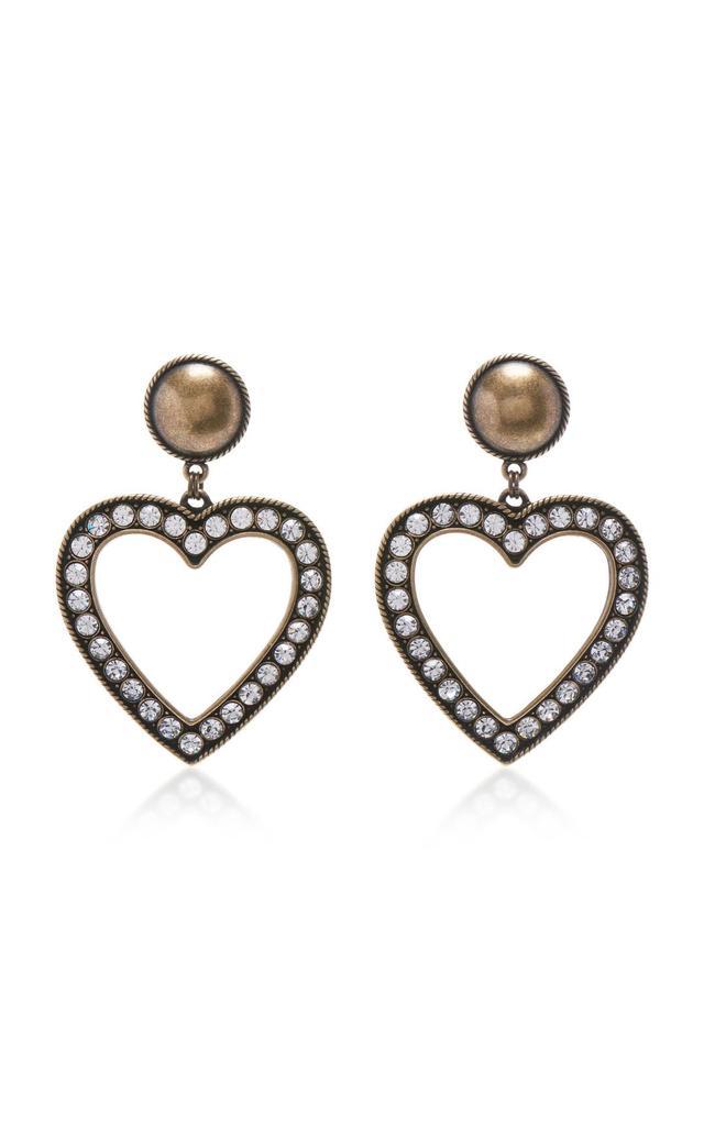Brass With Crystal Heart Earrings
