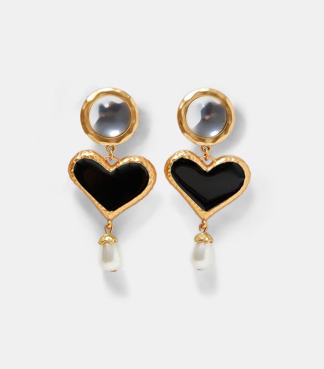 Zara Heart and Faux Pearl Earrings