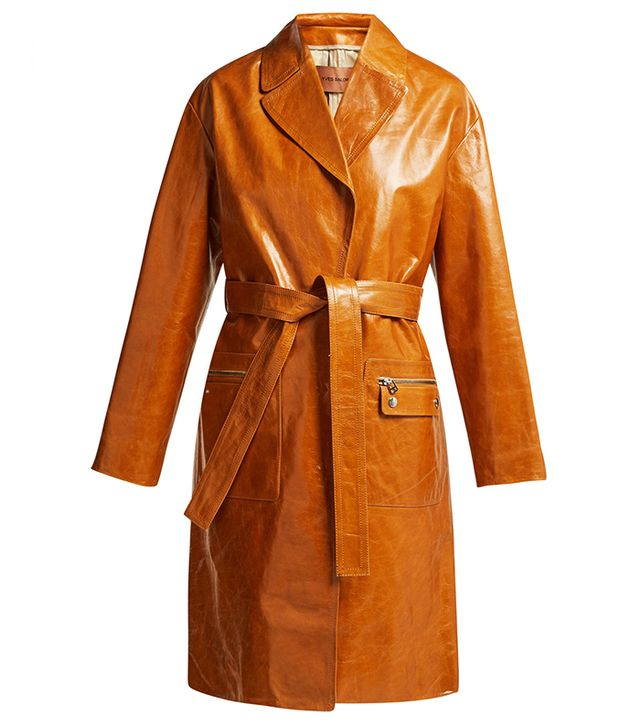 Yves Salomon Belted Patent-Leather Coat