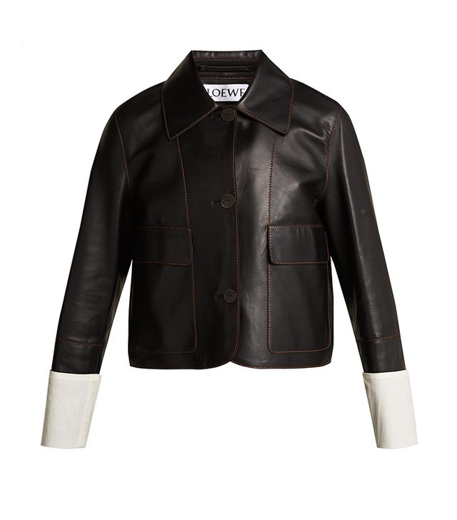 Loewe Contrast-Cuff Nappa Leather Jacket